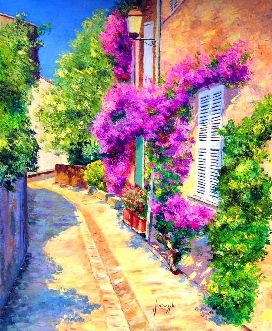 Картина по номерам 40x50 Уютный и цветущий переулок